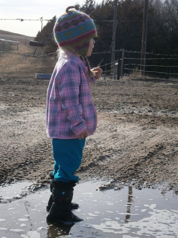 Splashing in the mud puddle, while watching Newt bring cows into the corral.